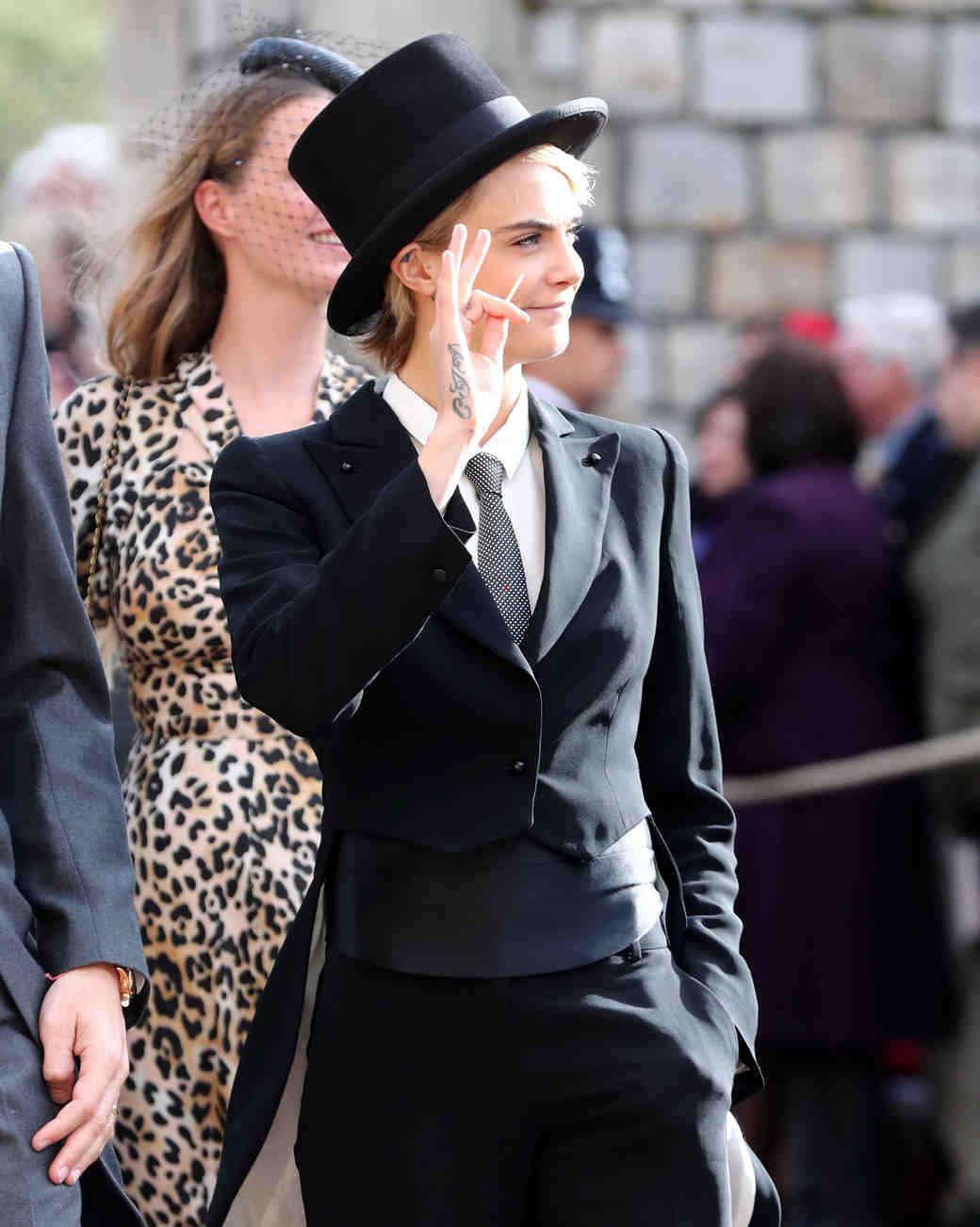 Cara Delevinge at Princess Eugenie 2018 royal wedding