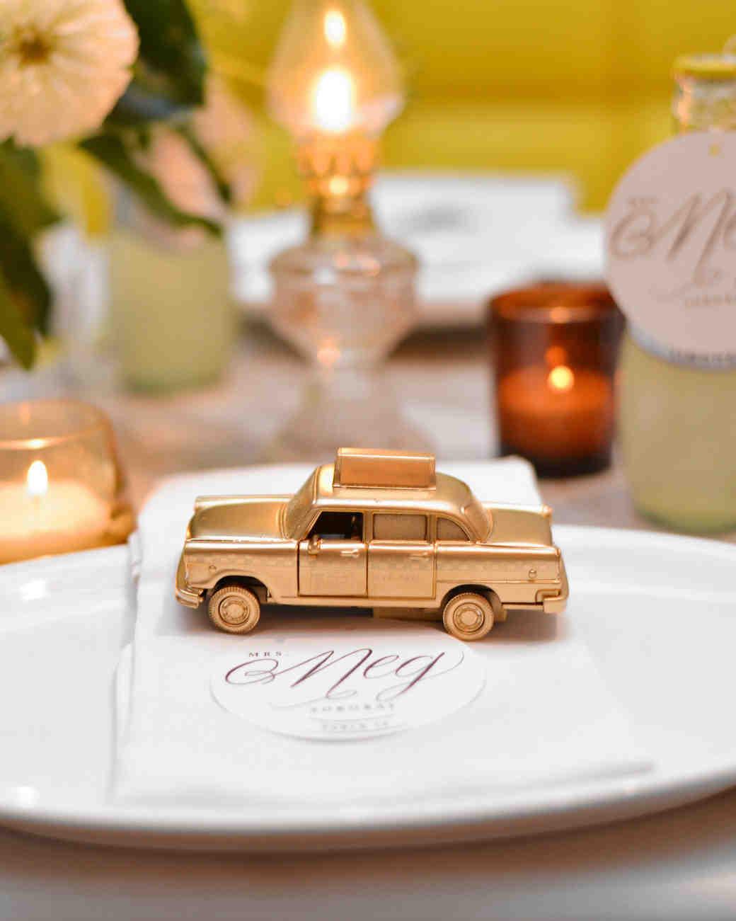 mini taxi cab on place setting