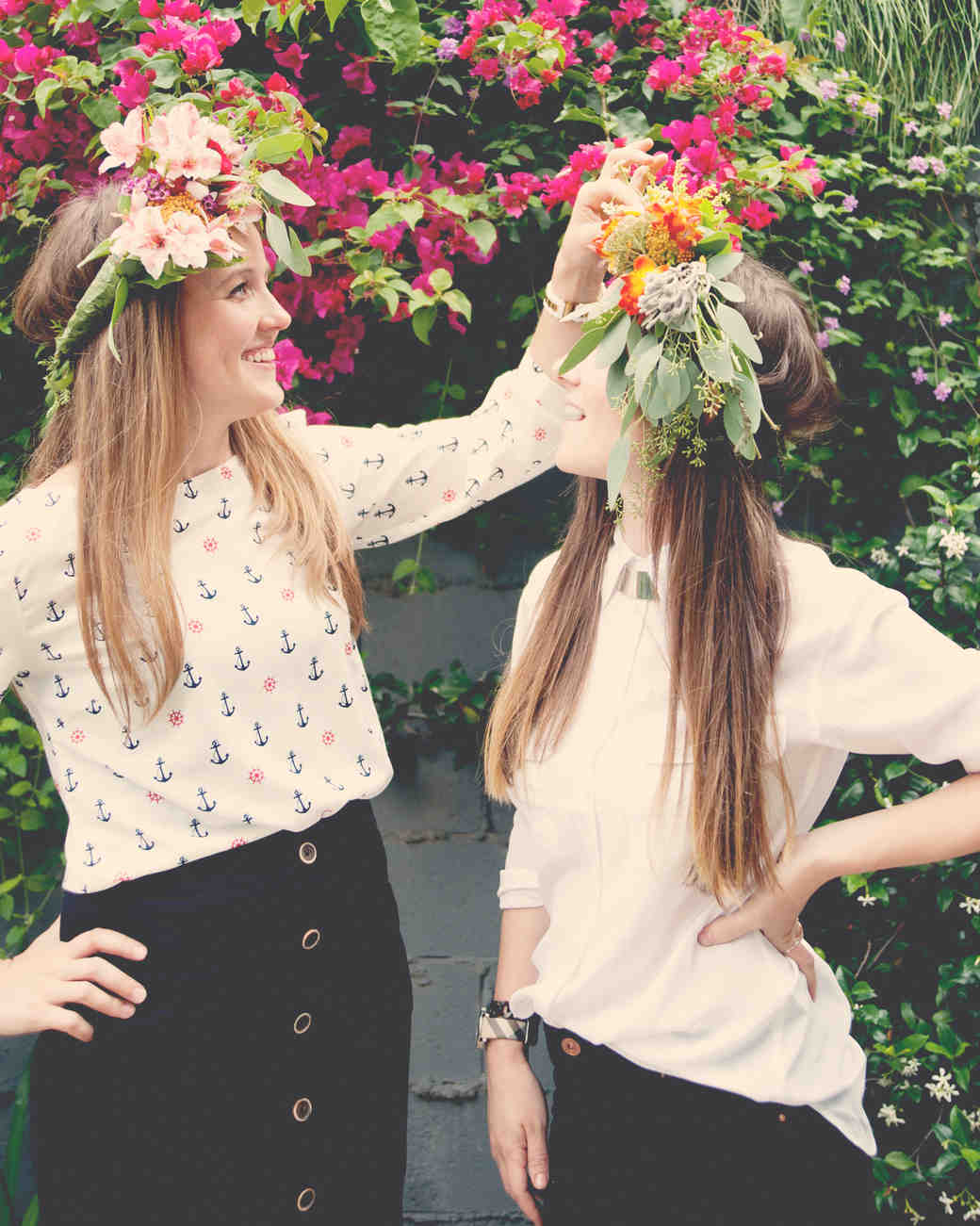 women wearing flower crowns