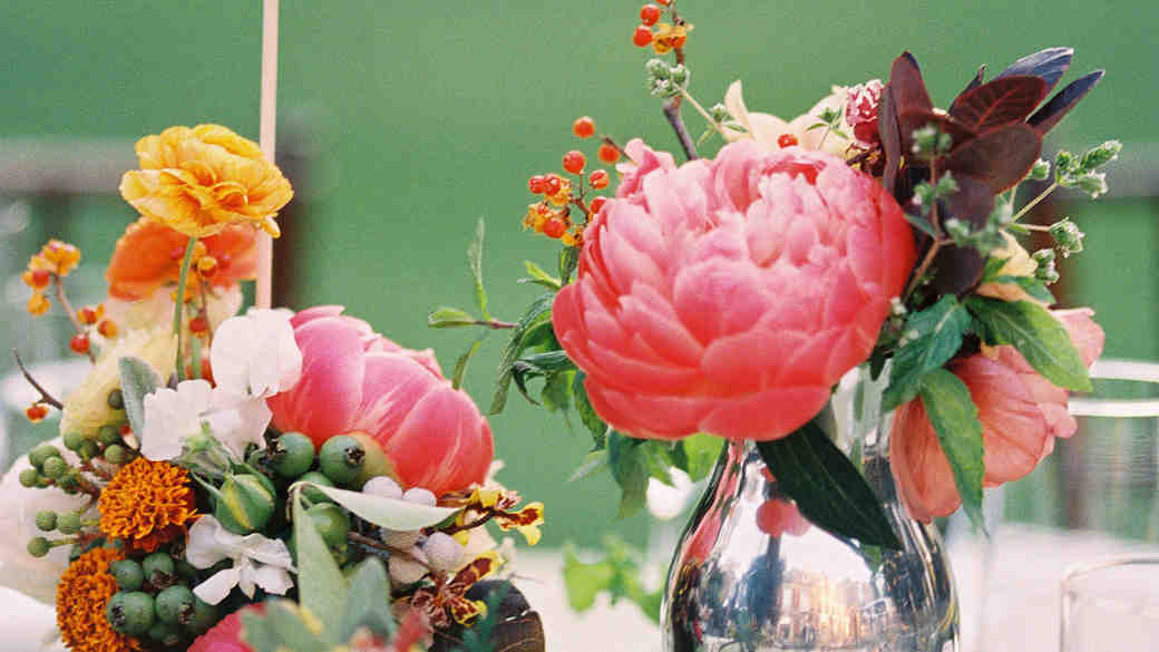 Peony Cluster Centerpieces with Greenery and Colorful Flowers