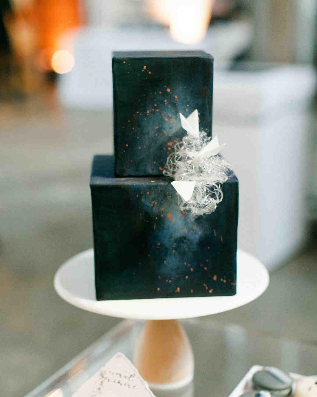 cubed wedding dark celestial cake