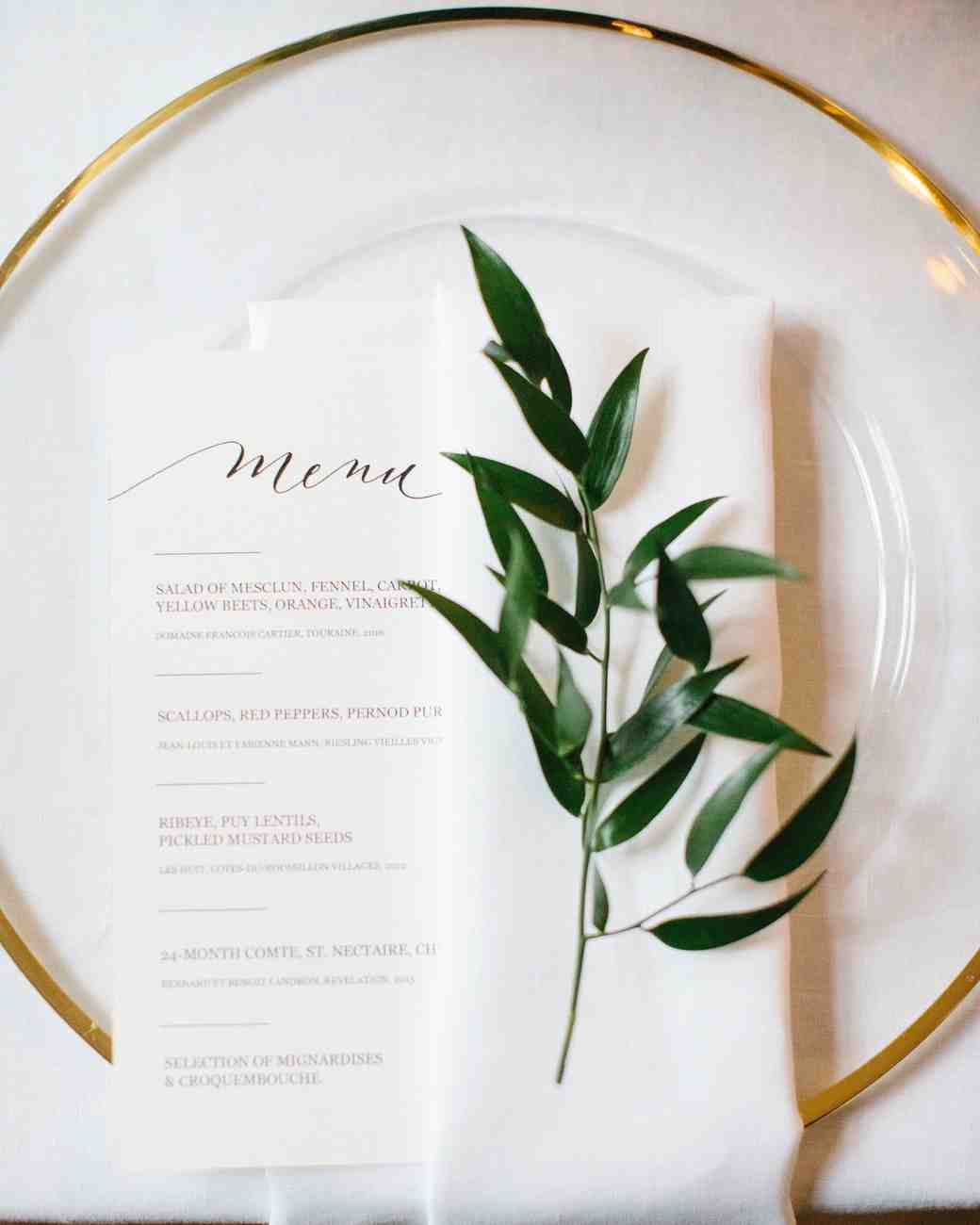 wedding placesetting menu