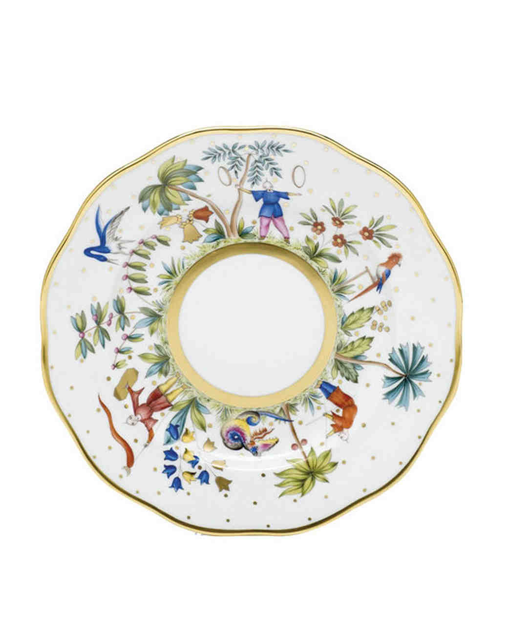 floral and gold dinnerware plate