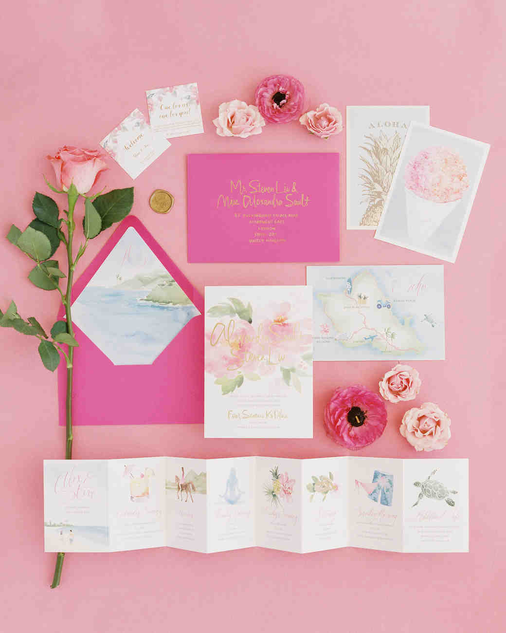 pink floral water color invitation itinerary stationary