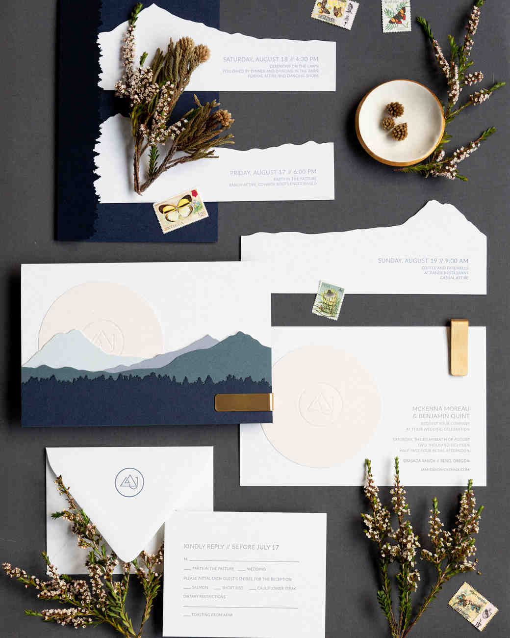 wedding stationery mountain layered details