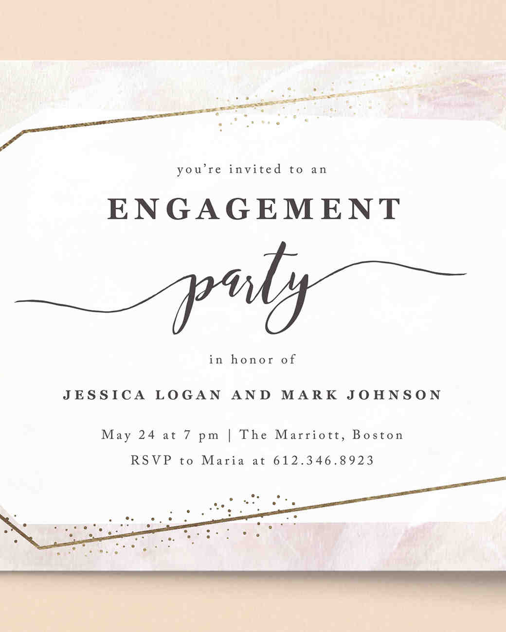 Sweta Modi for Minted Glimmer Engagement Party Invitations