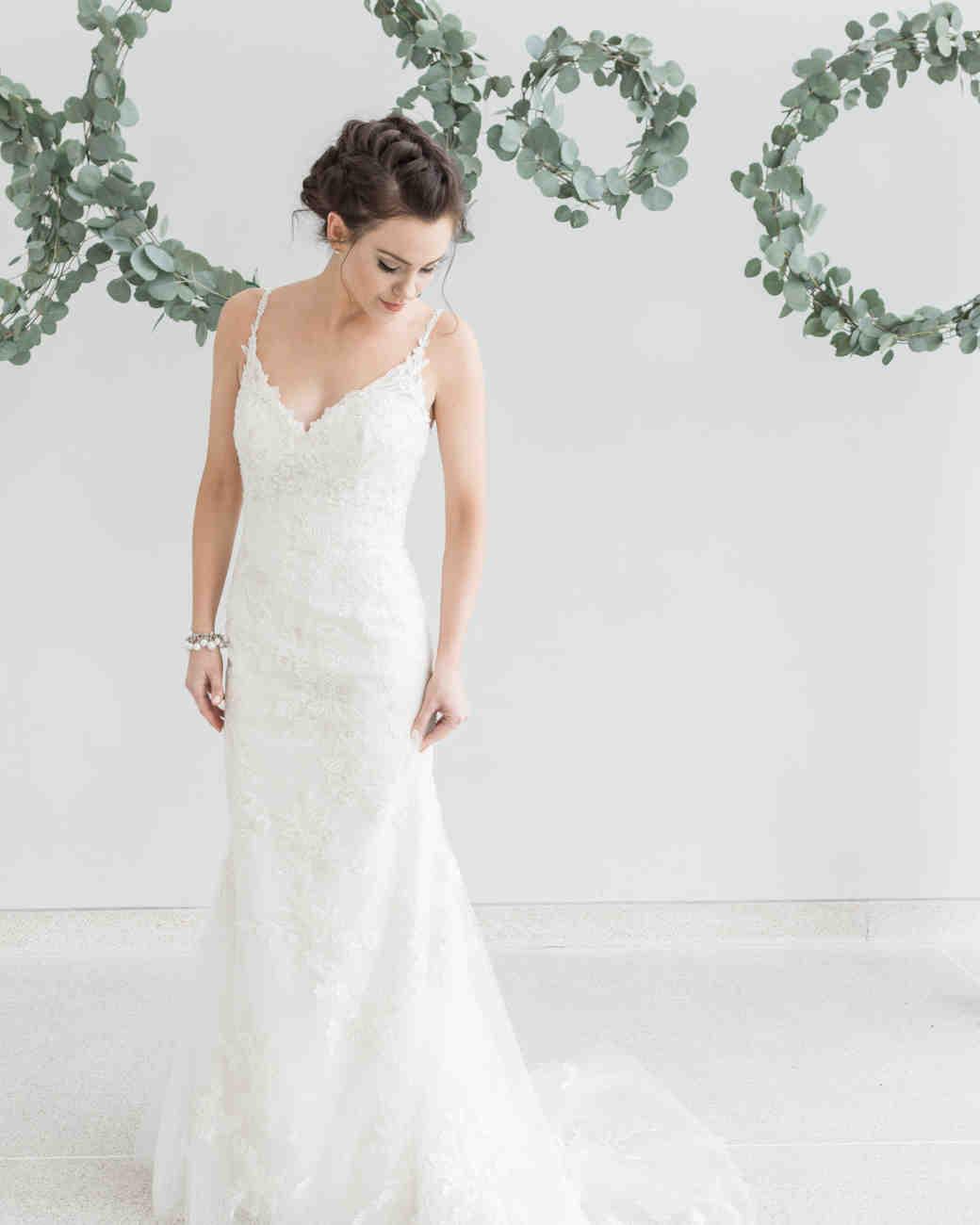eucalyptus wedding wreaths bride pose