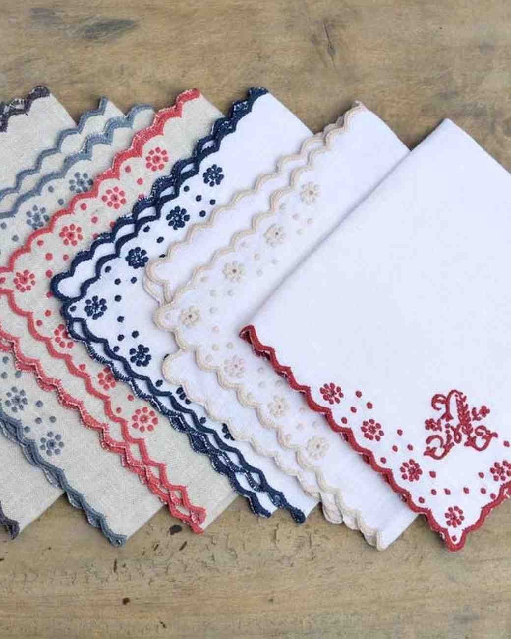Gift idea for moms: folded embroidered napkins from Chez Mlain