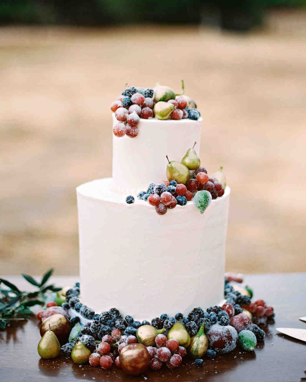 Wedding Cake Decorated With Fresh Blue Fruit