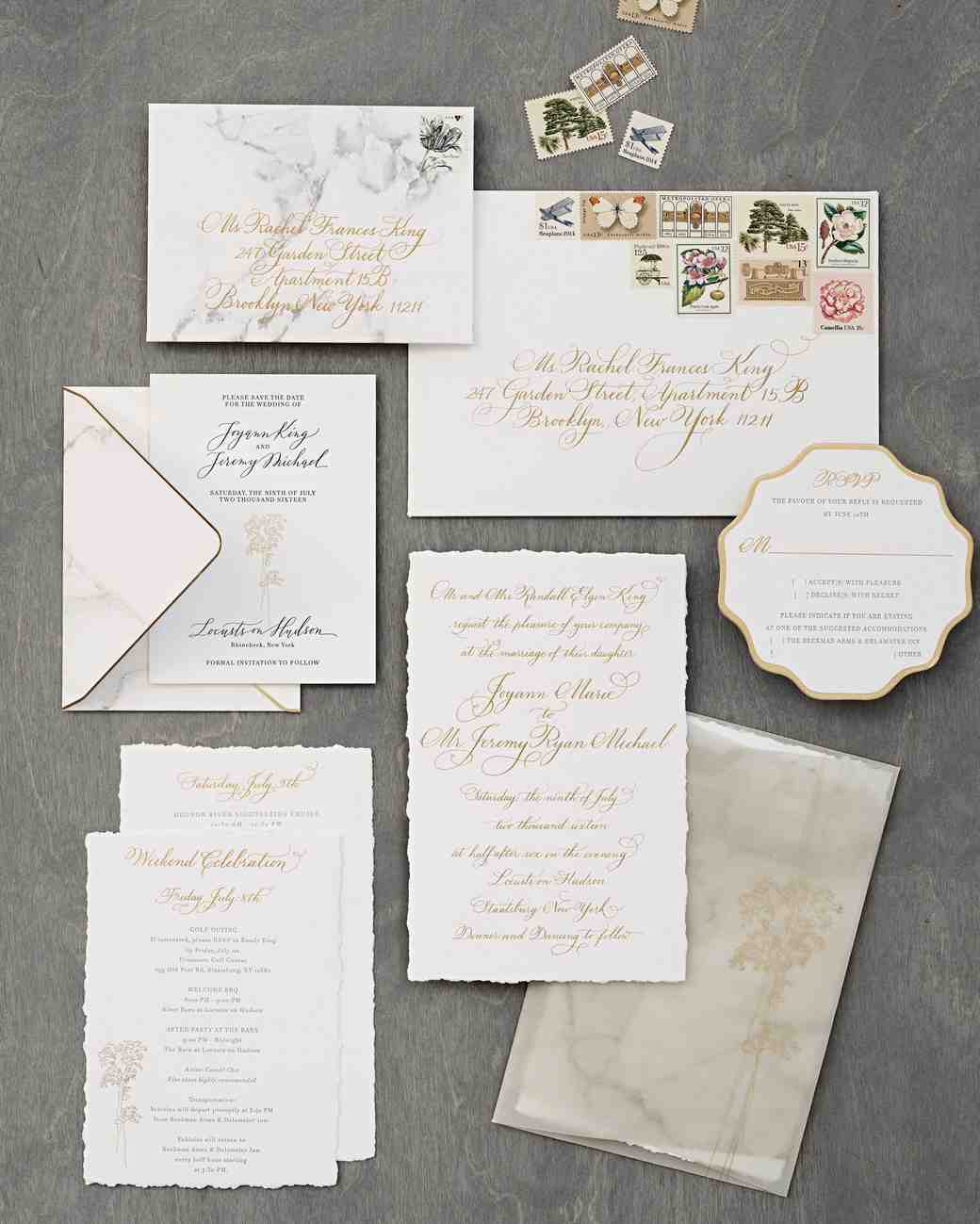 Elegant White, Marble and Gold Wedding Invitations