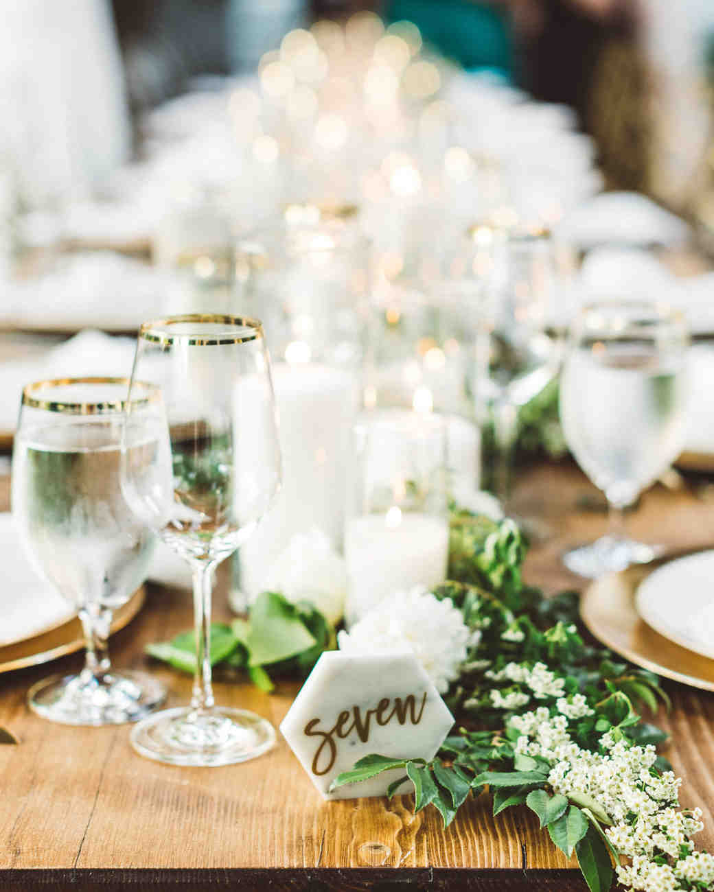 kaily matt wedding los angeles marble hexagon table number