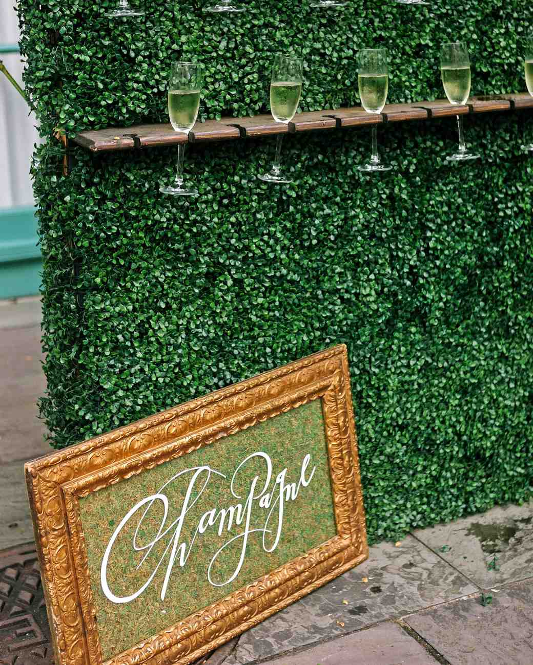 kate austin wedding champagne wall
