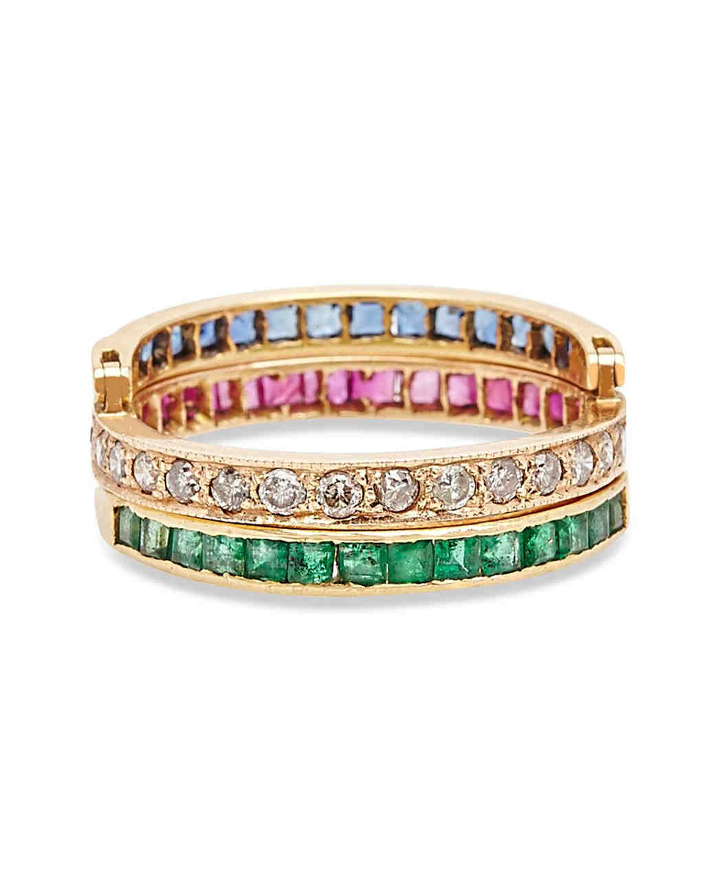 Kirat Young Gold Baguette Flip Ring with Emeralds, Sapphires, Rubies, and Diamonds