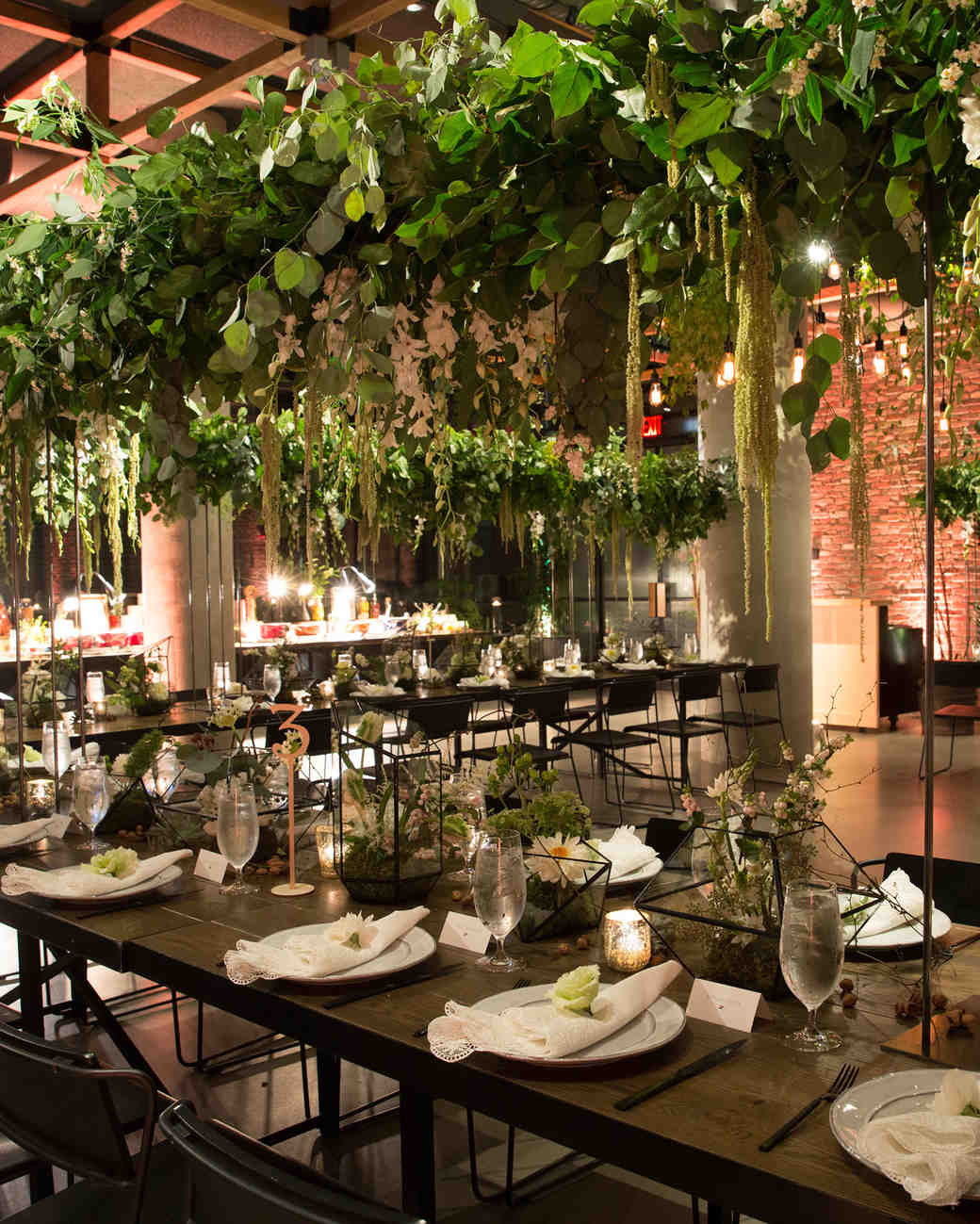 Lilly and Chris NYC Wedding, Reception with Hanging Greenery Installations