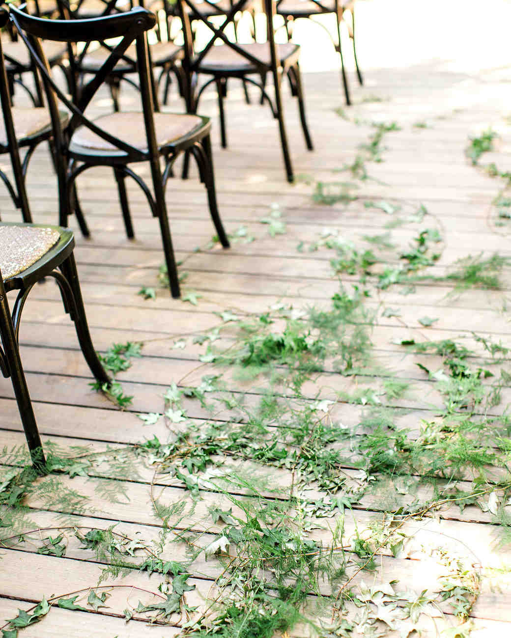 megan scott wedding aisle with greenery