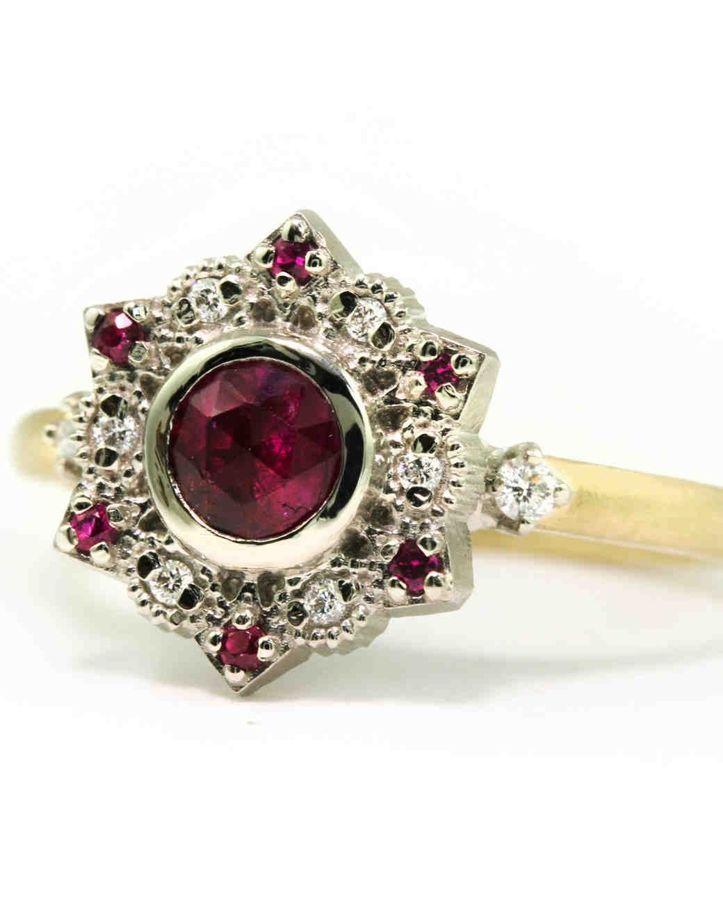 Megan Thorne Rose-Cut Ruby & Diamond Engagement Ring