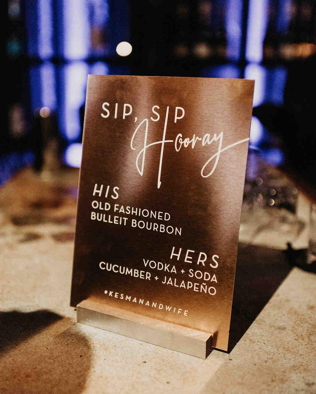 metallic wedding cocktail menu