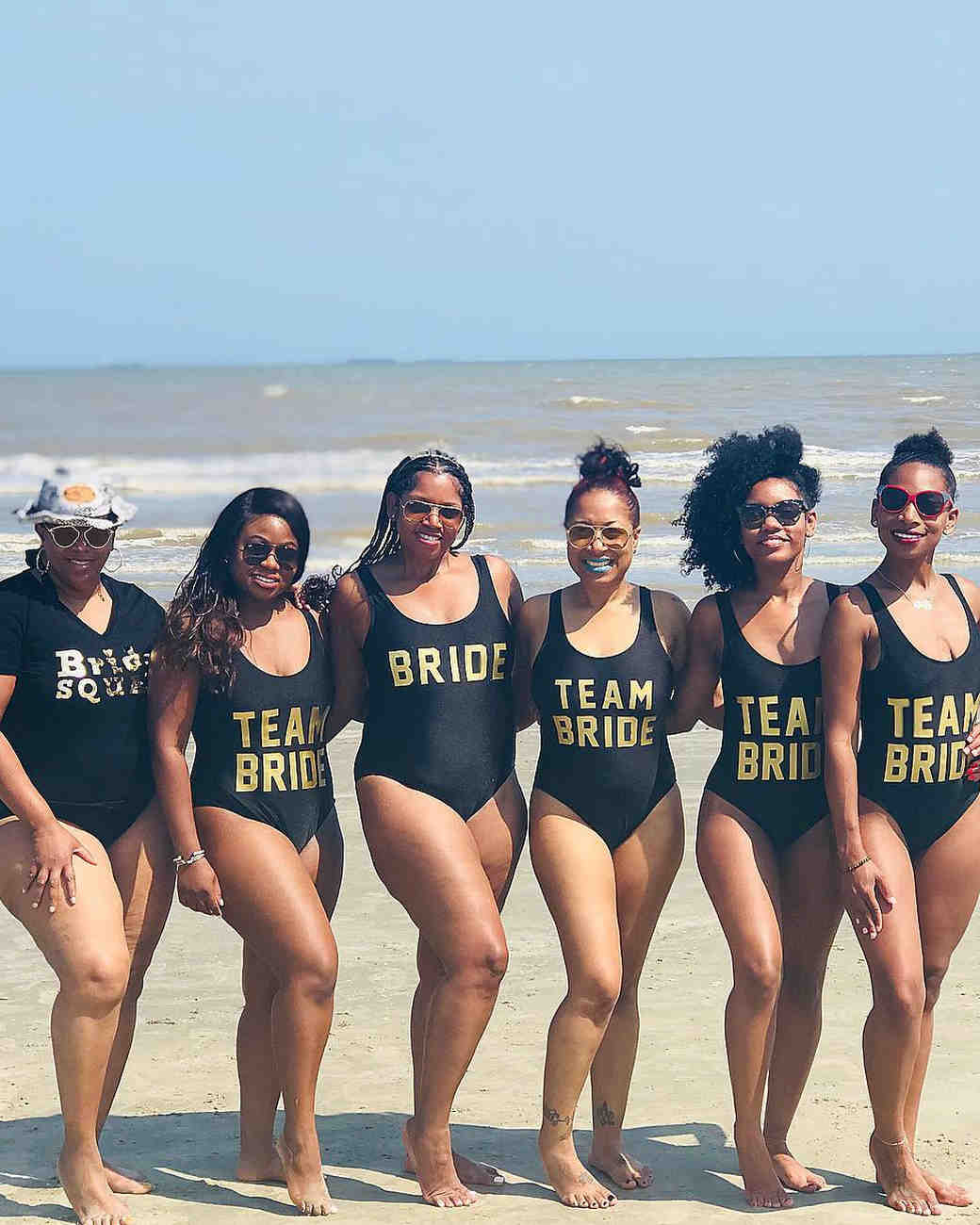 real brides bachelorette group beach team bride