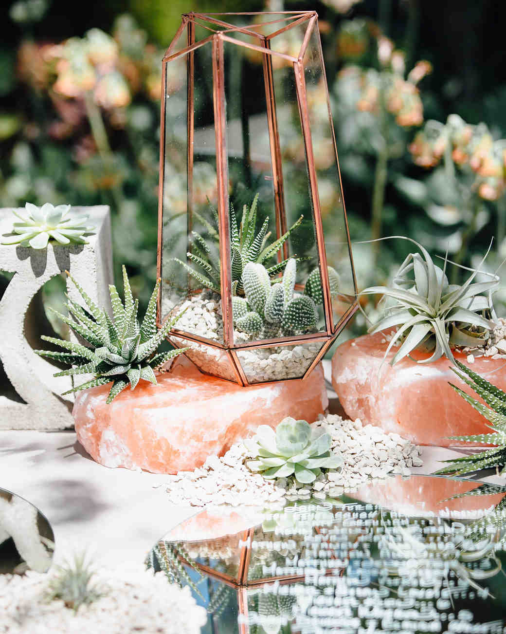 rose gold wedding ideas metallic terrariums