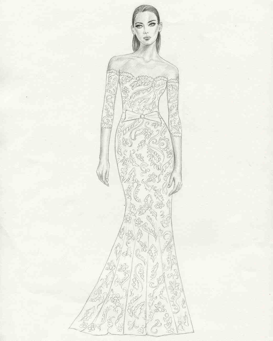 persy wedding dress sketch