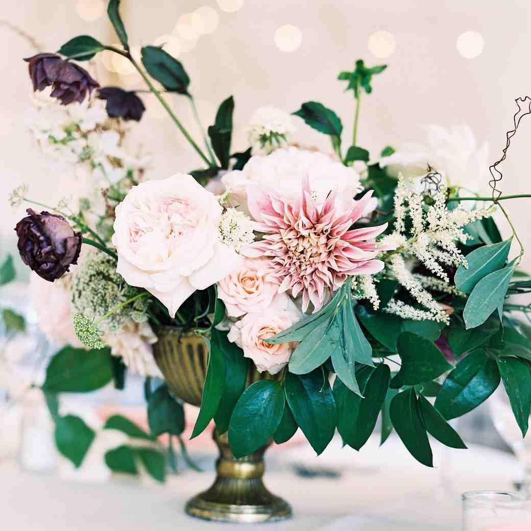 Vintage dahlia and rose summer wedding centerpiece