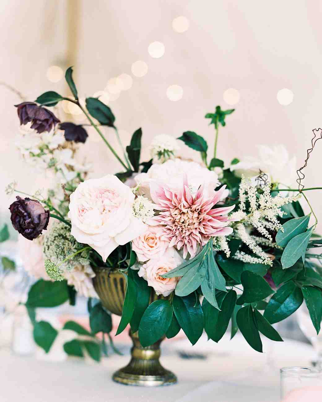 Vintage dahlia and rose summer wedding centerpiece