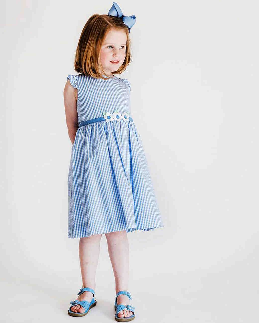 summer flower girl outfit blue seersucker dress