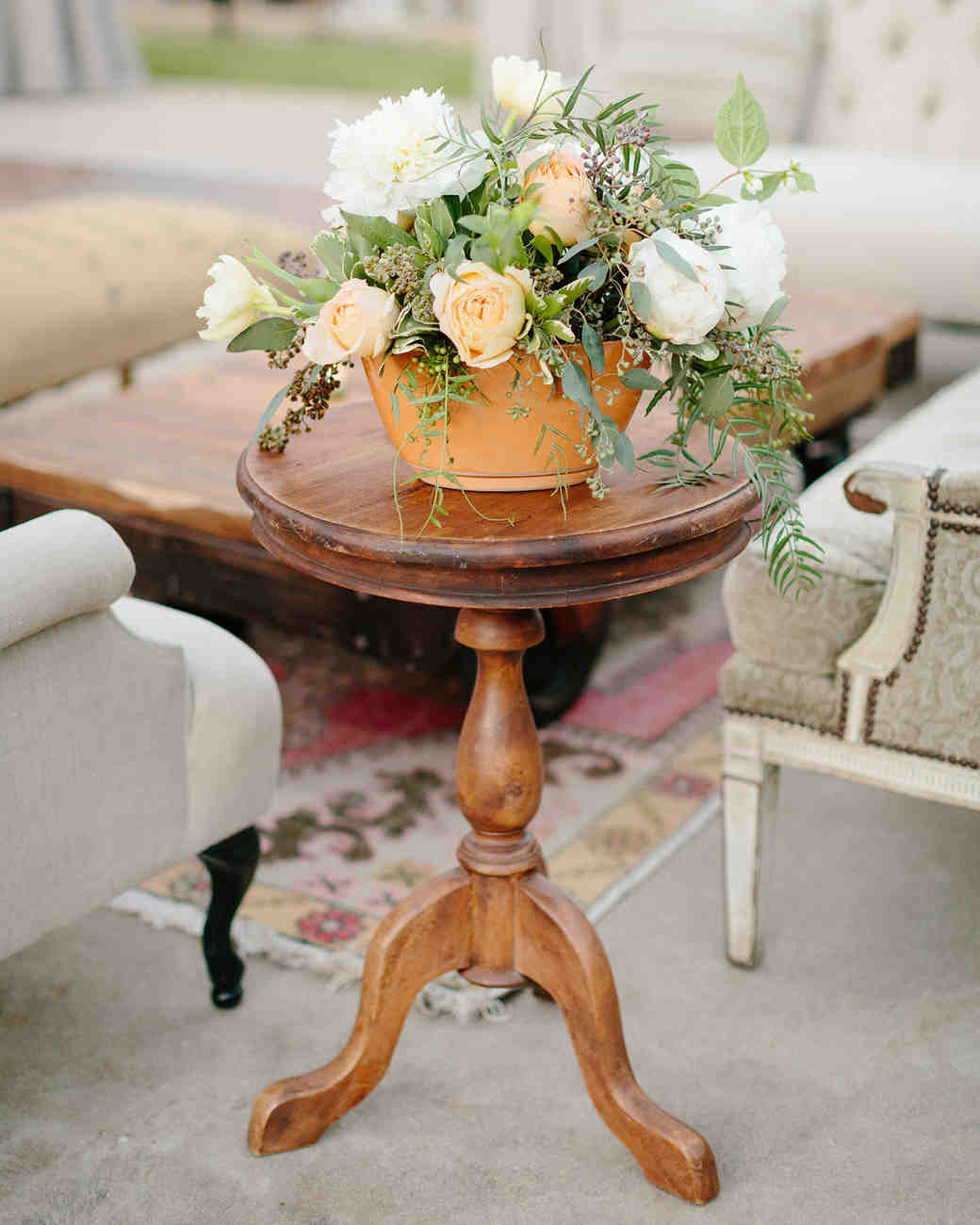 terra cotta decor lounge accents wooden table