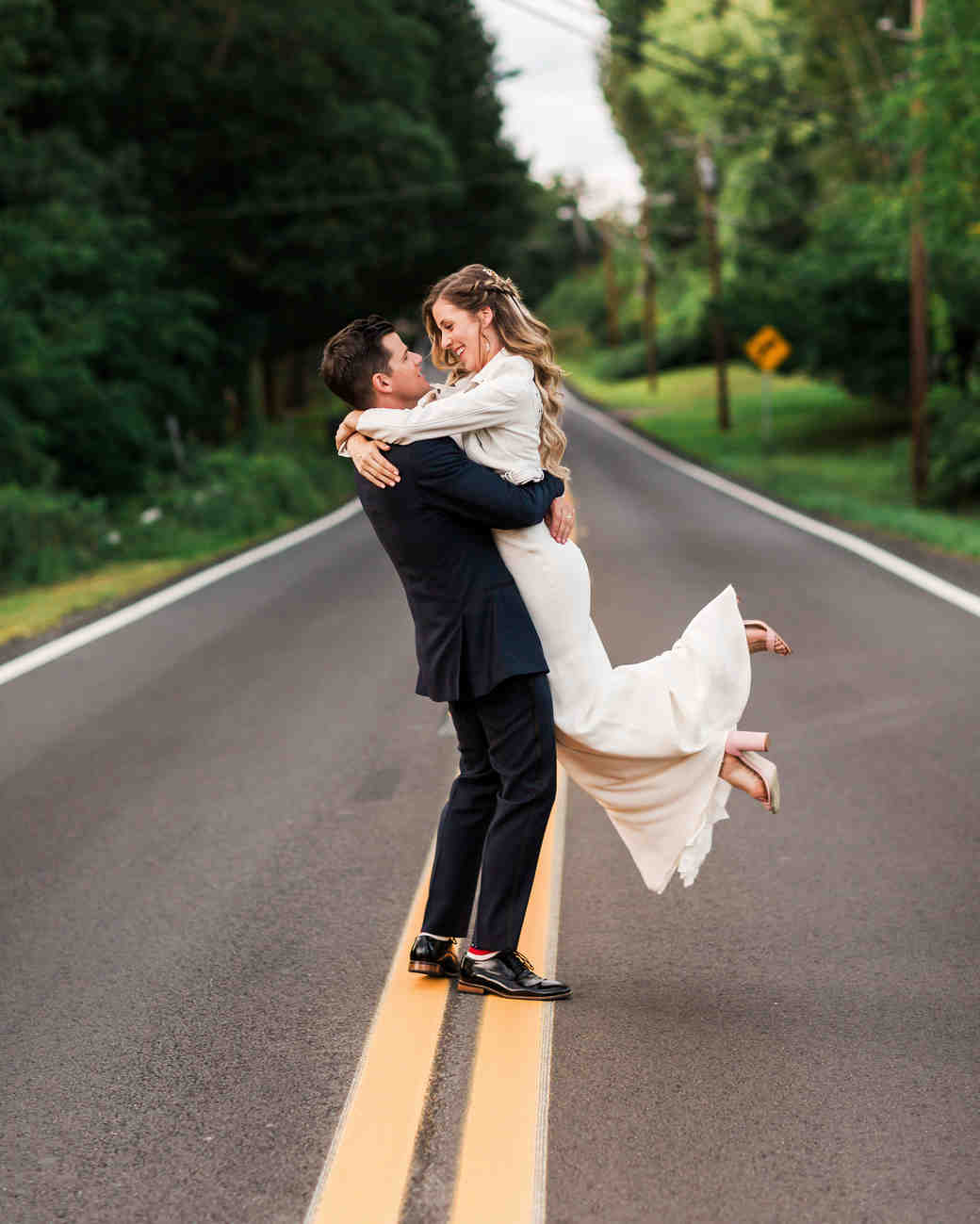 vanessa steven wedding couple road embrace