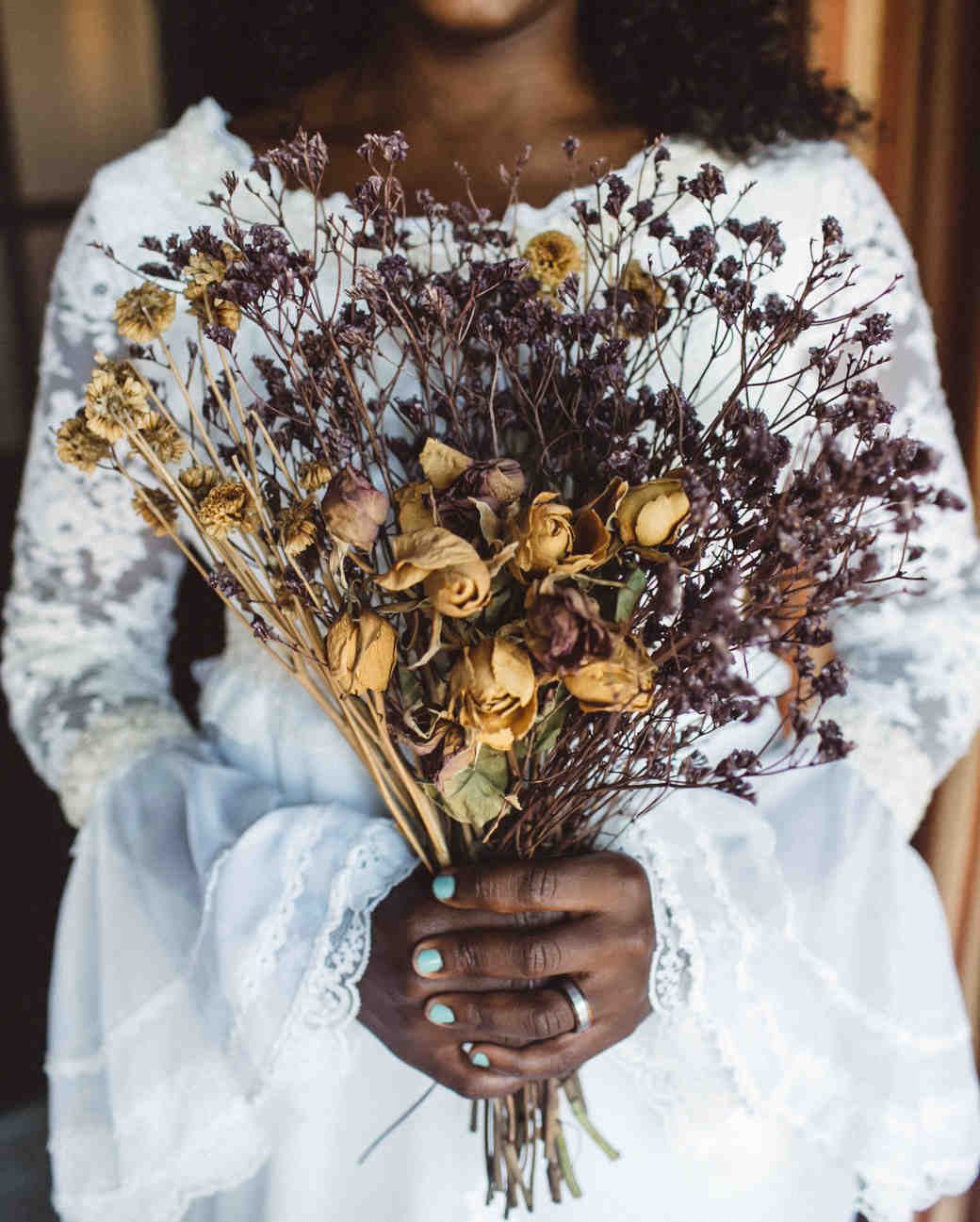 vasthy mason wedding dried bouquet