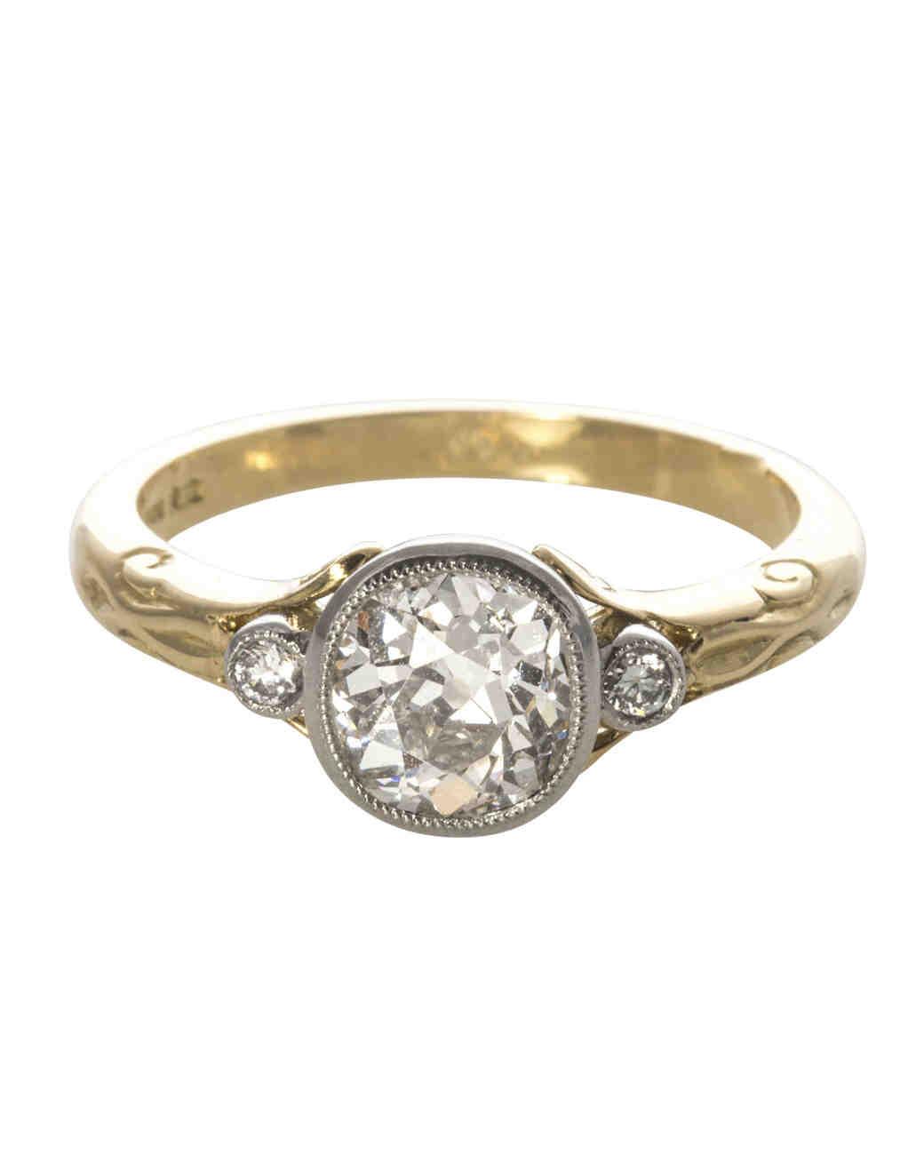 Old Mine Cut Diamond Platinum Ring