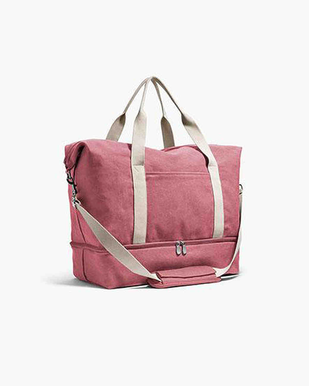 bridesmaid gift salmon pink weekender bag