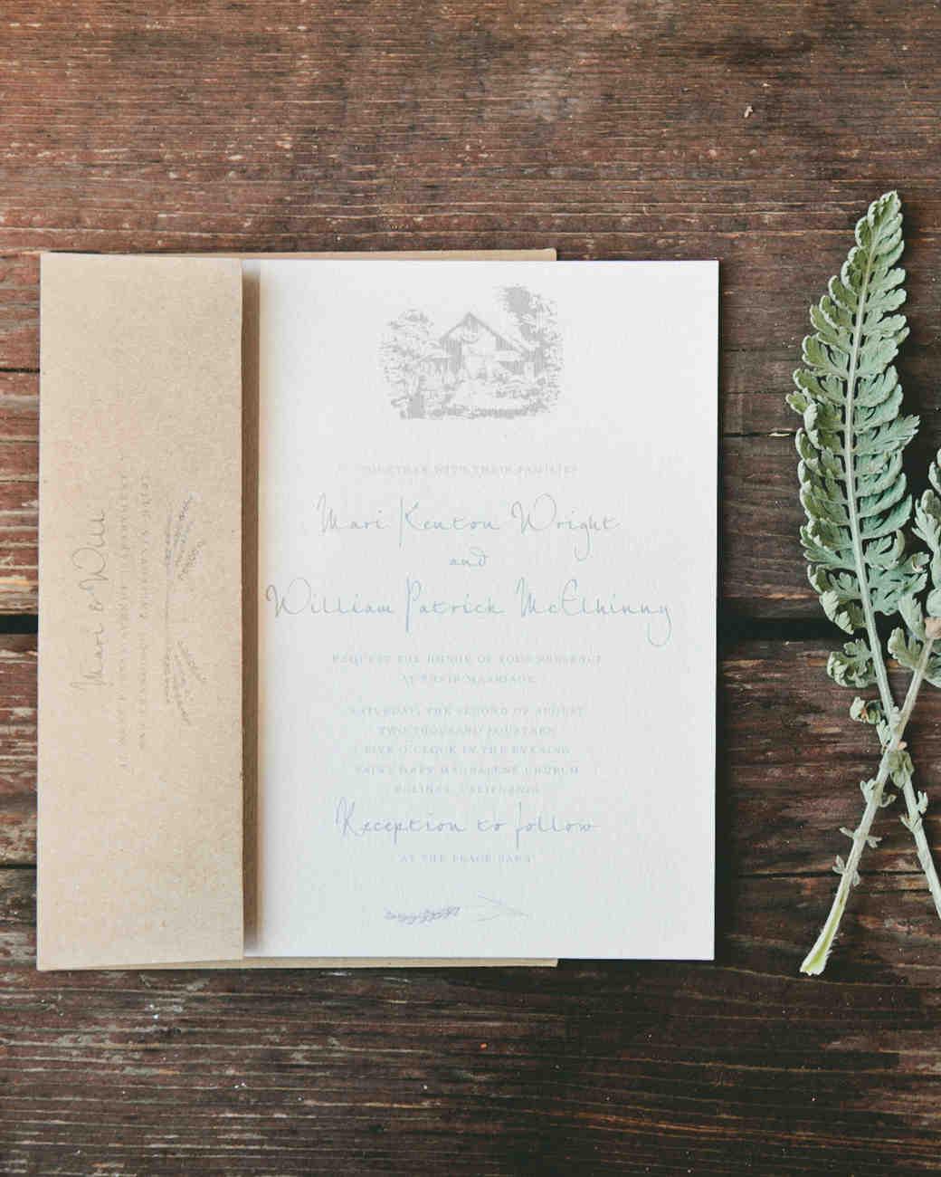 classic rustic wedding invitation