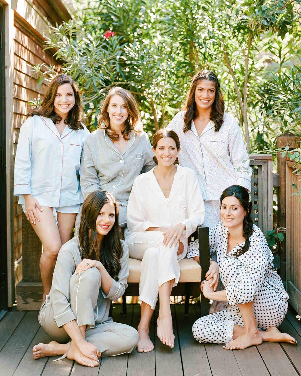 cristina chris wedding bridesmaids getting ready pajamas