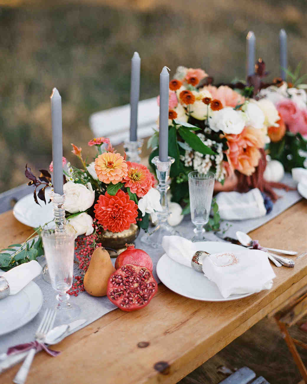 Fall Tablescape with Dahlia and Zinnia Centerpieces and Fresh Fruit on Table