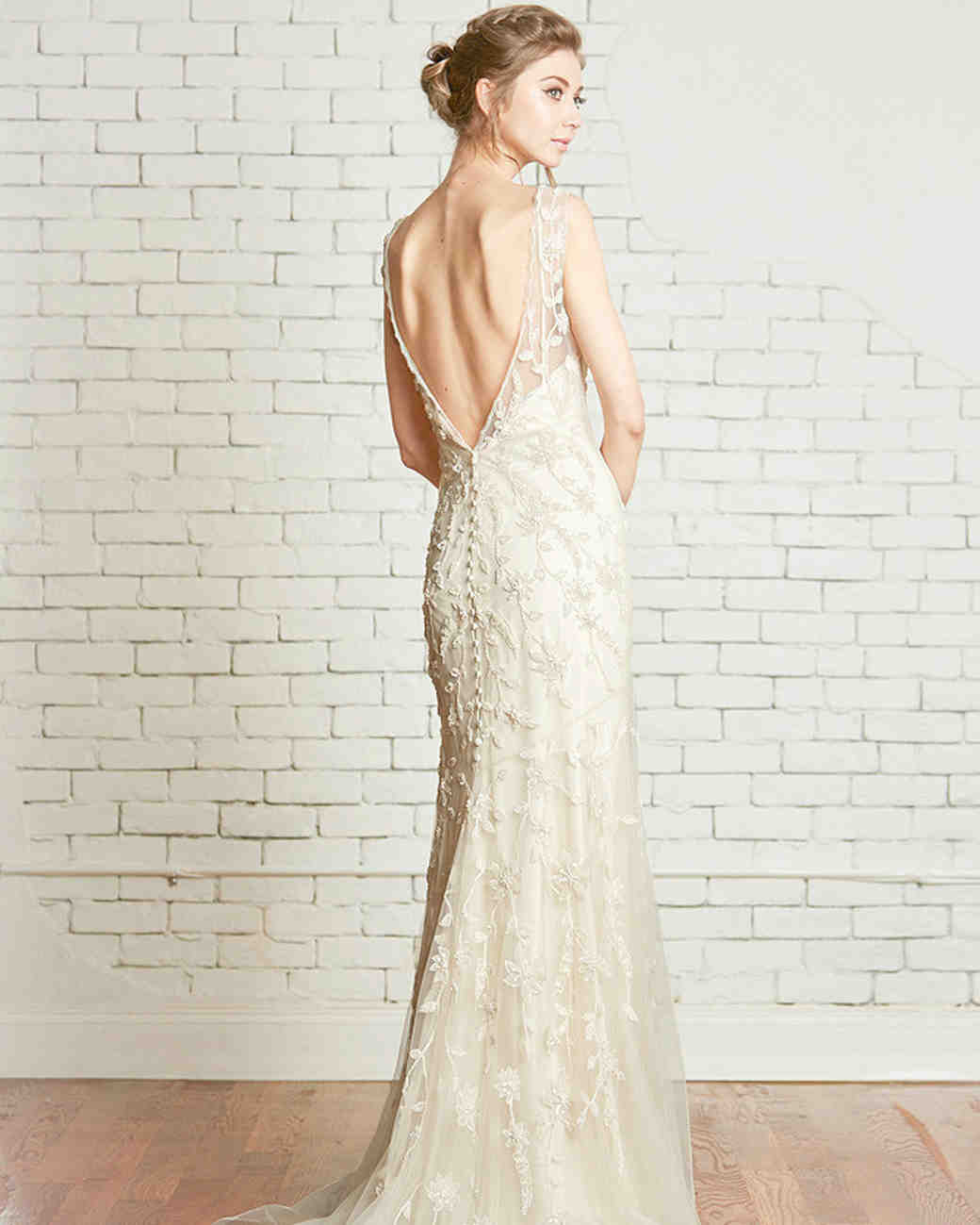 Low-Back Wedding Dress with Floral Overlay