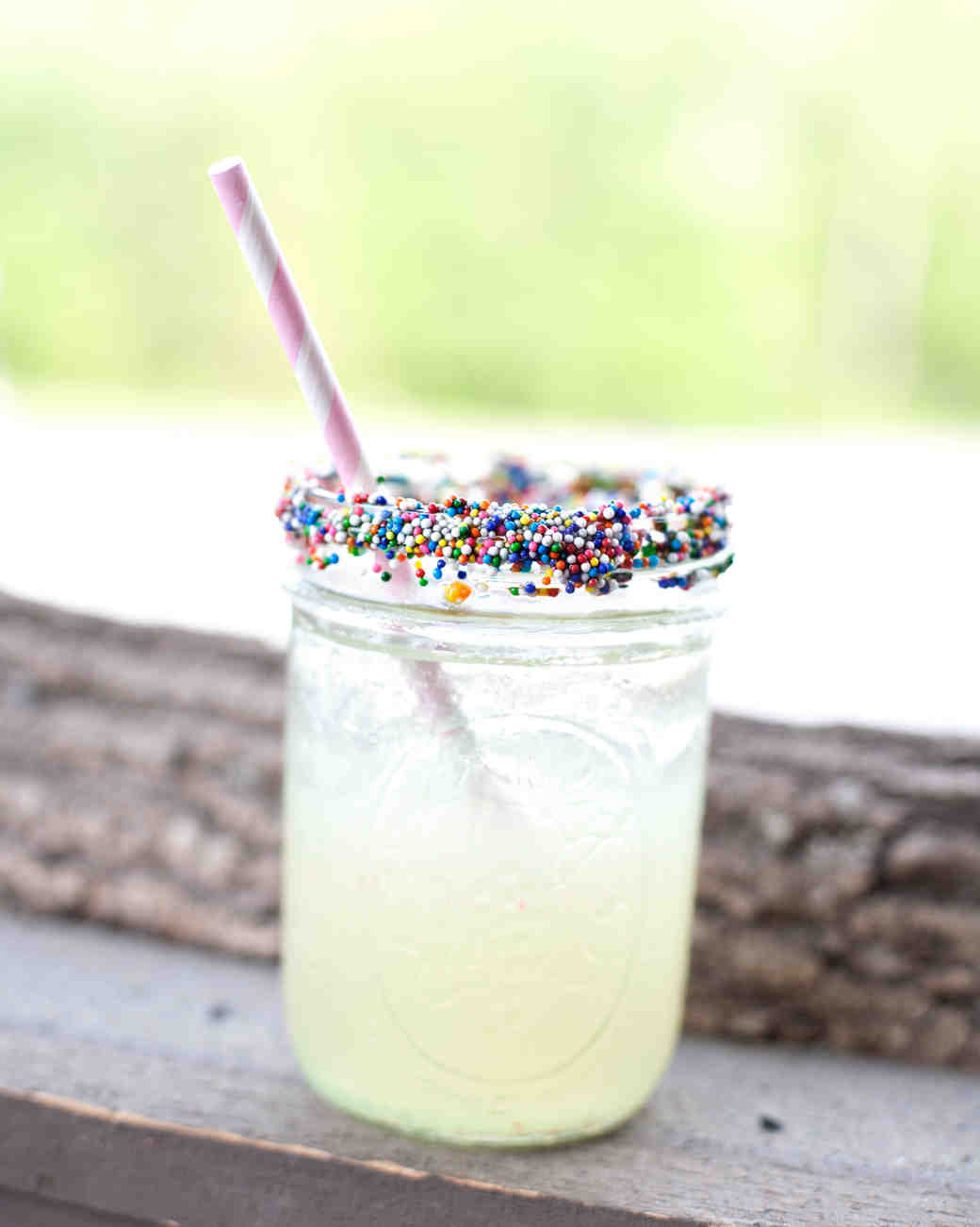 drink with sprinkles on rim