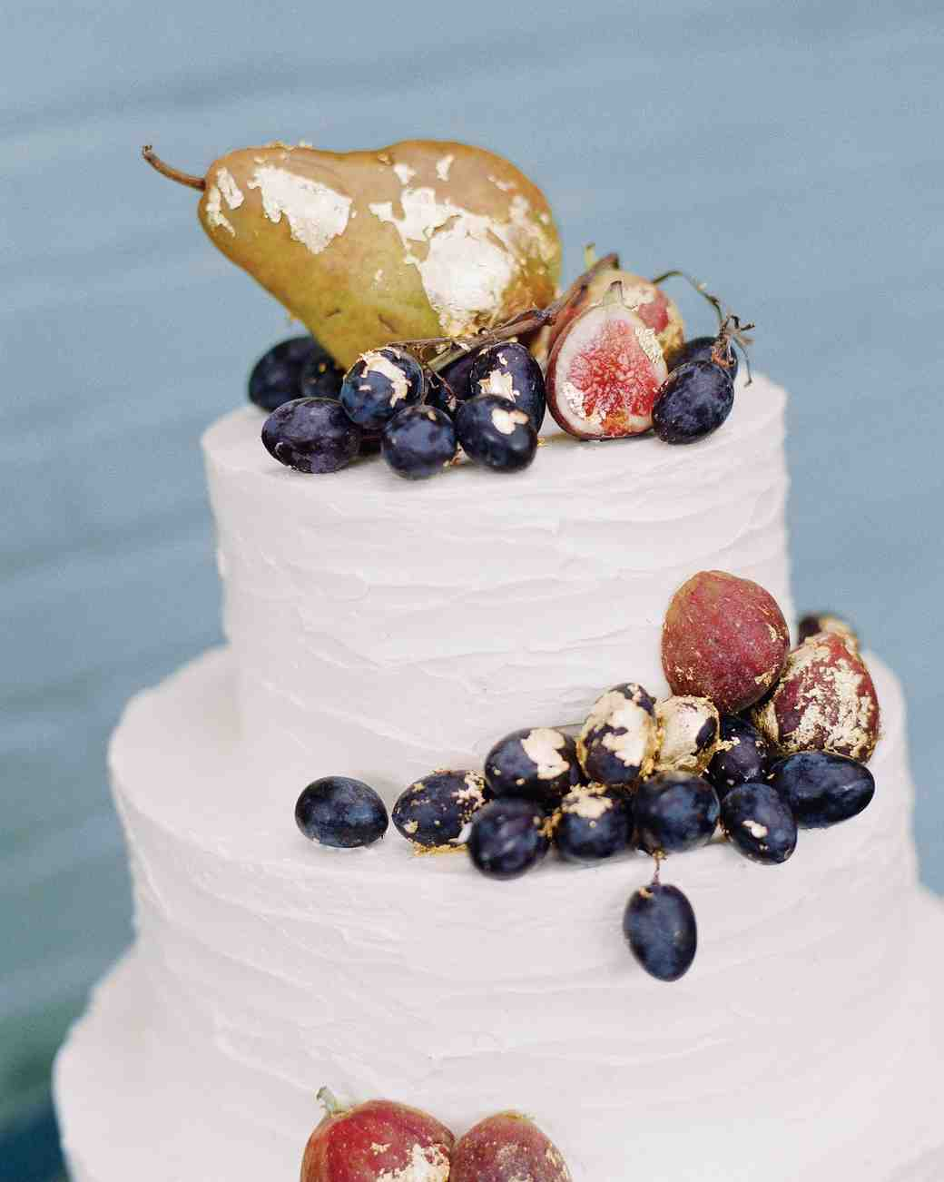 White Wedding Cake with Gilded Fruit