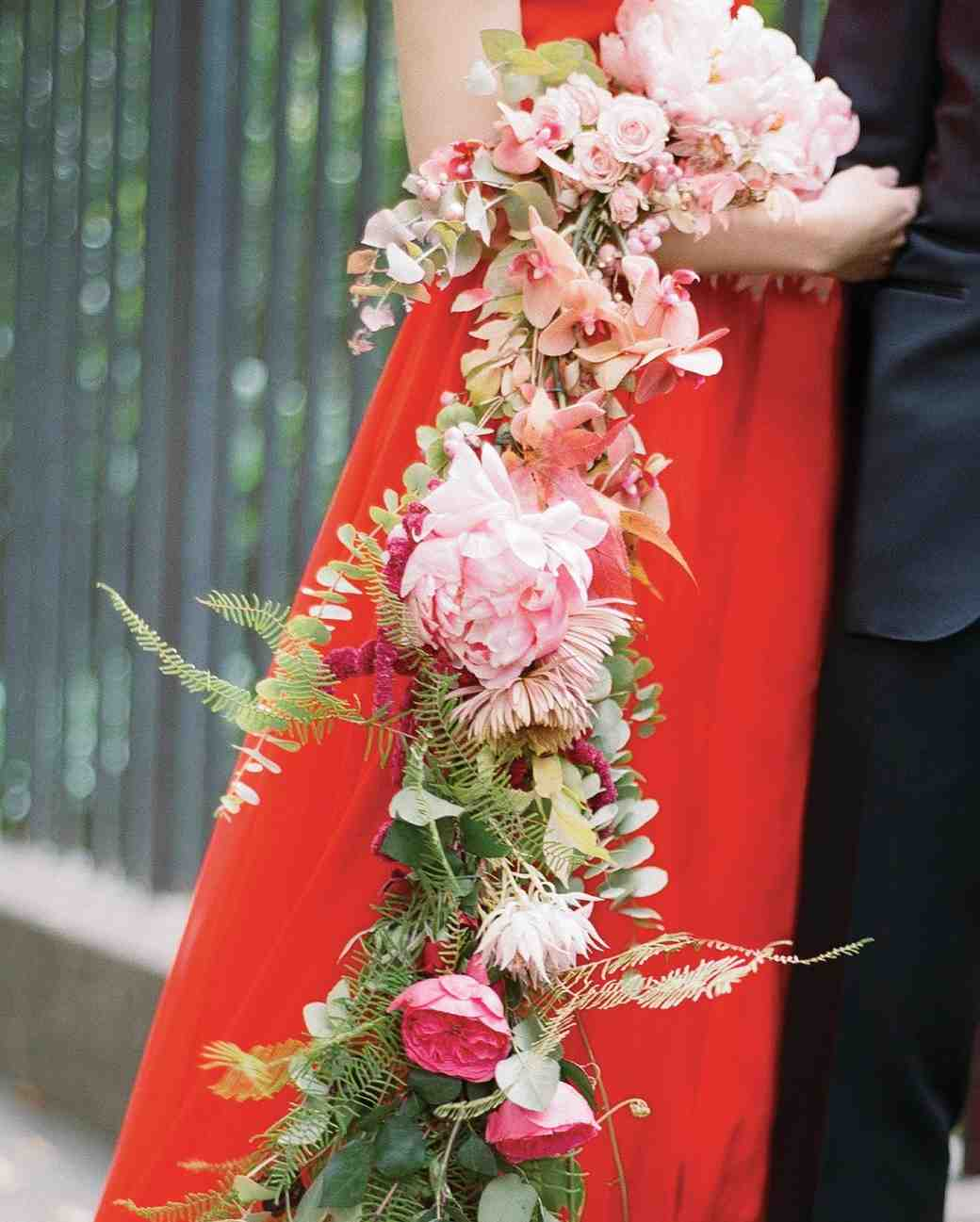 Pink Cascading Wedding Bouquet