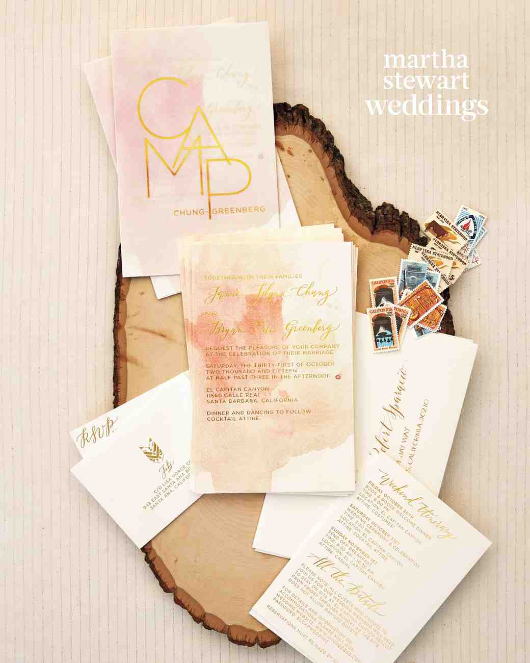 watercolor and gold foil metallic invitation suite