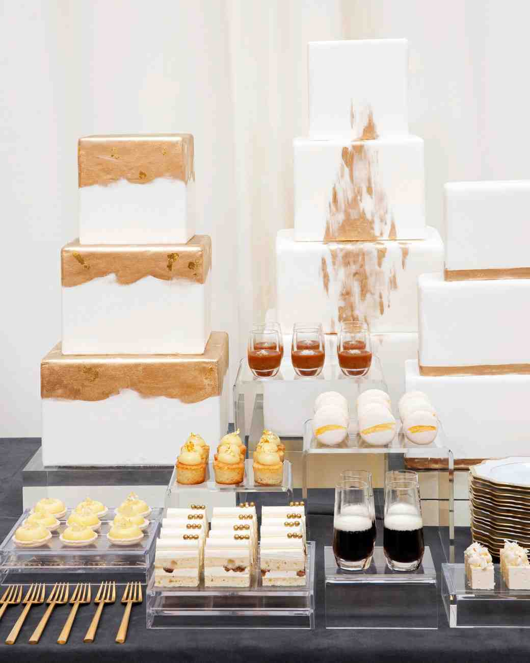 Modern Square White and Gold Wedding Cakes