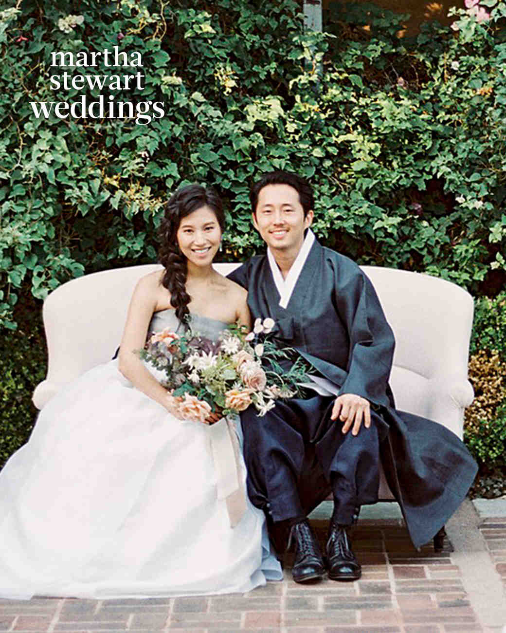 steven yeun walking dead wedding portrait