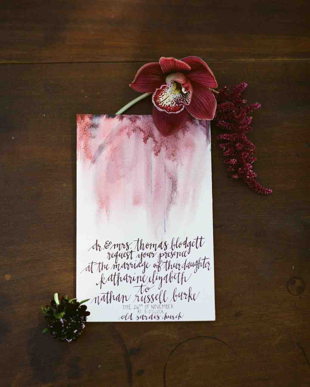 watercolor-red wedding invitation