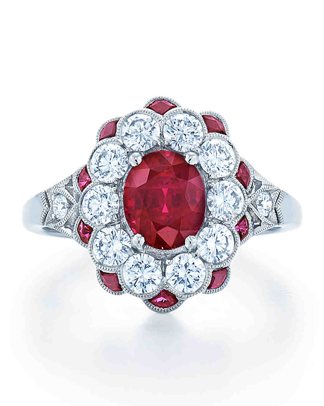 Kwiat Vintage Ruby Engagement Ring with Diamond Halo