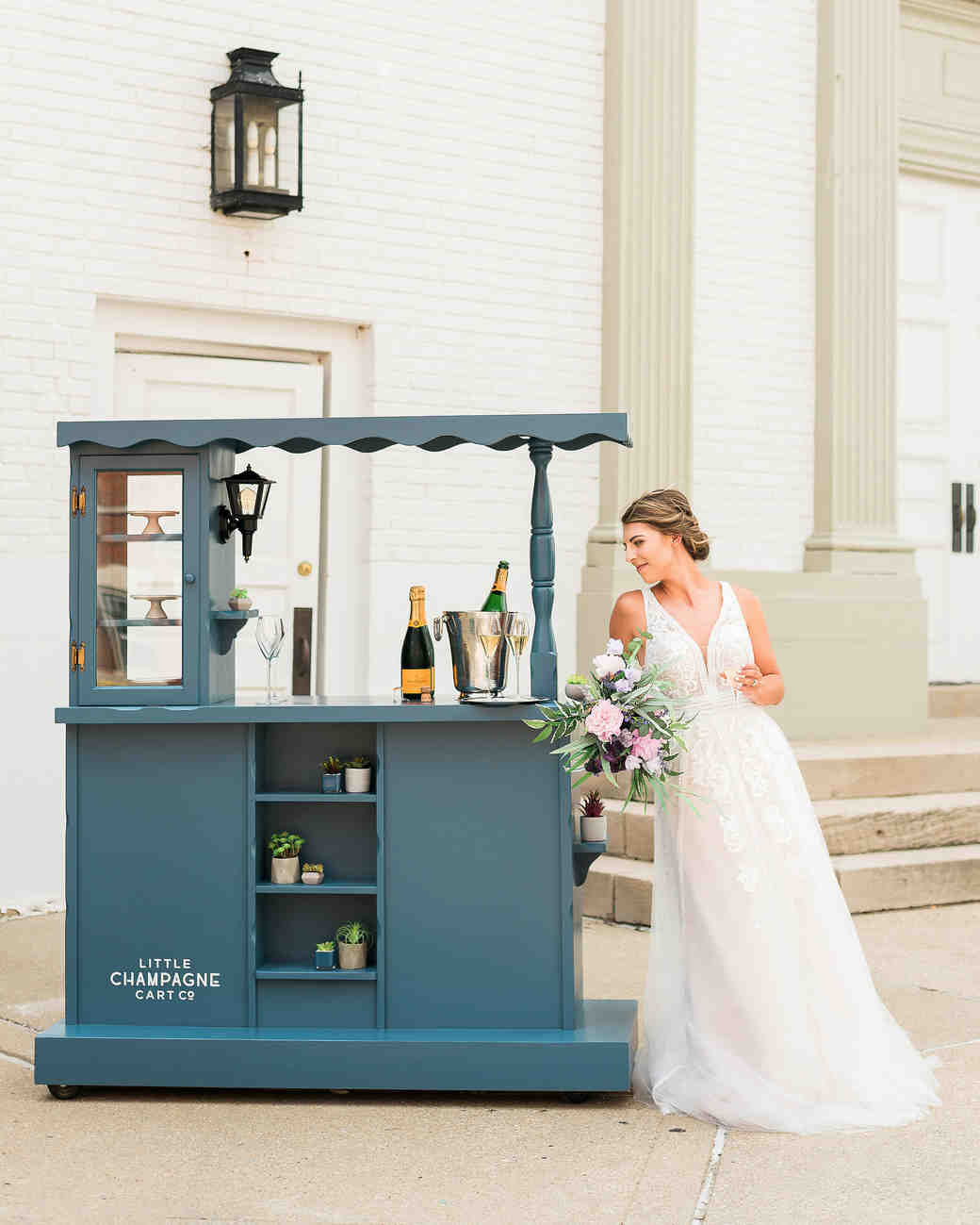 little champagne cart bride mobile cocktails