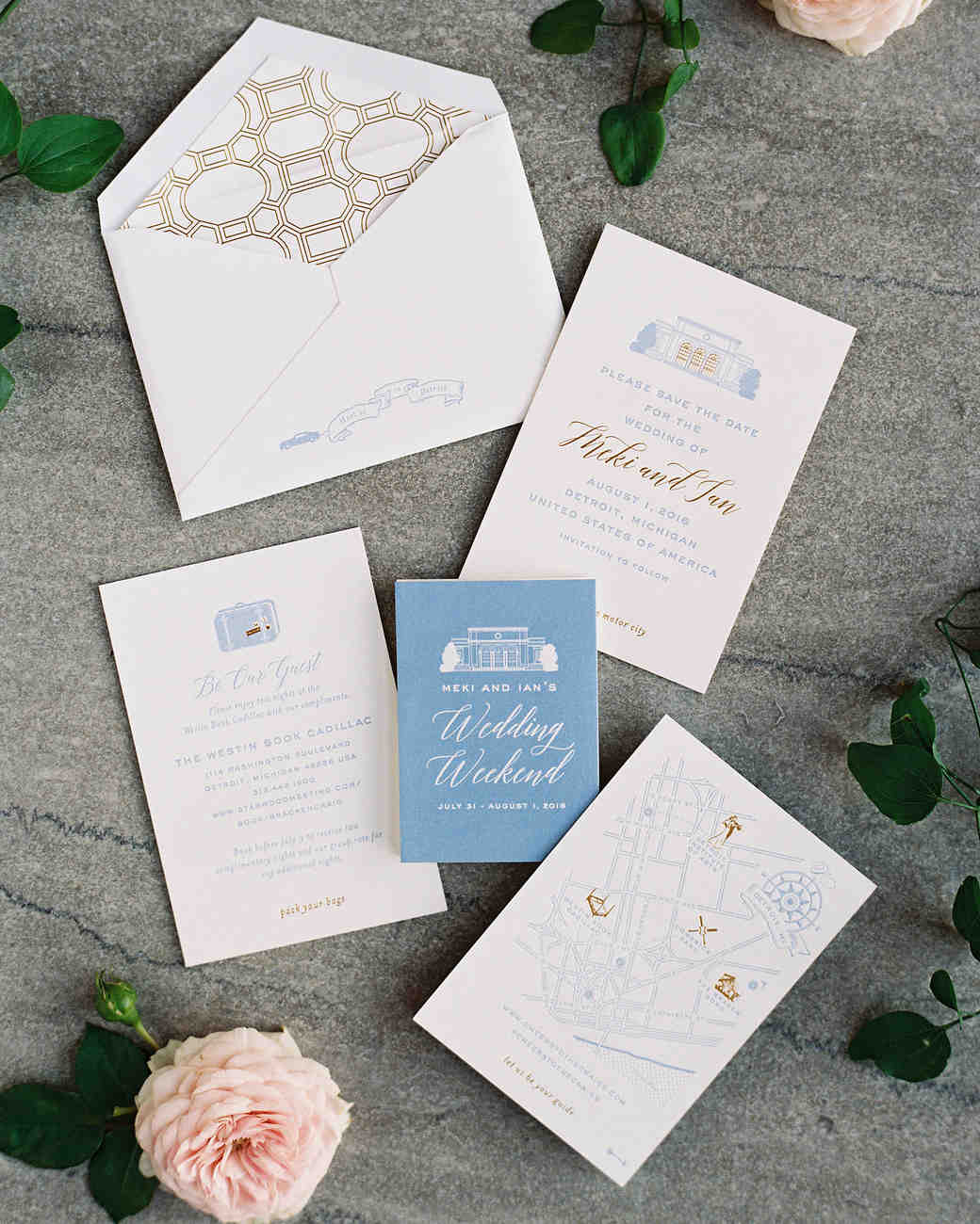 meki ian wedding michigan stationery suite