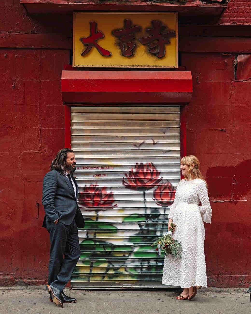morgan jon paul wedding couple posing on street