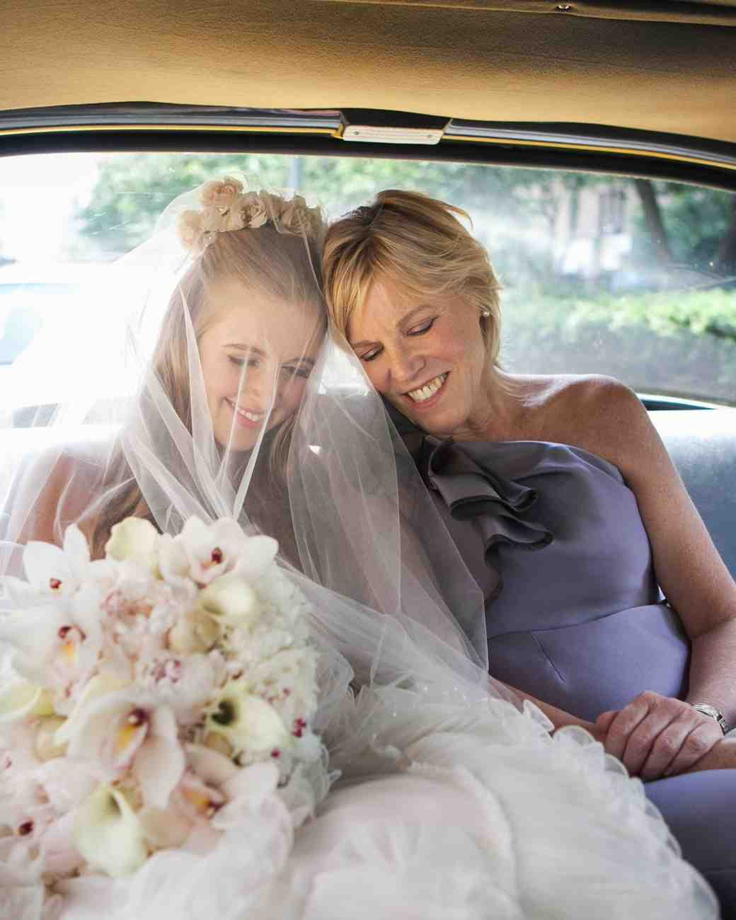 Mother and Daughter in the Wedding Car