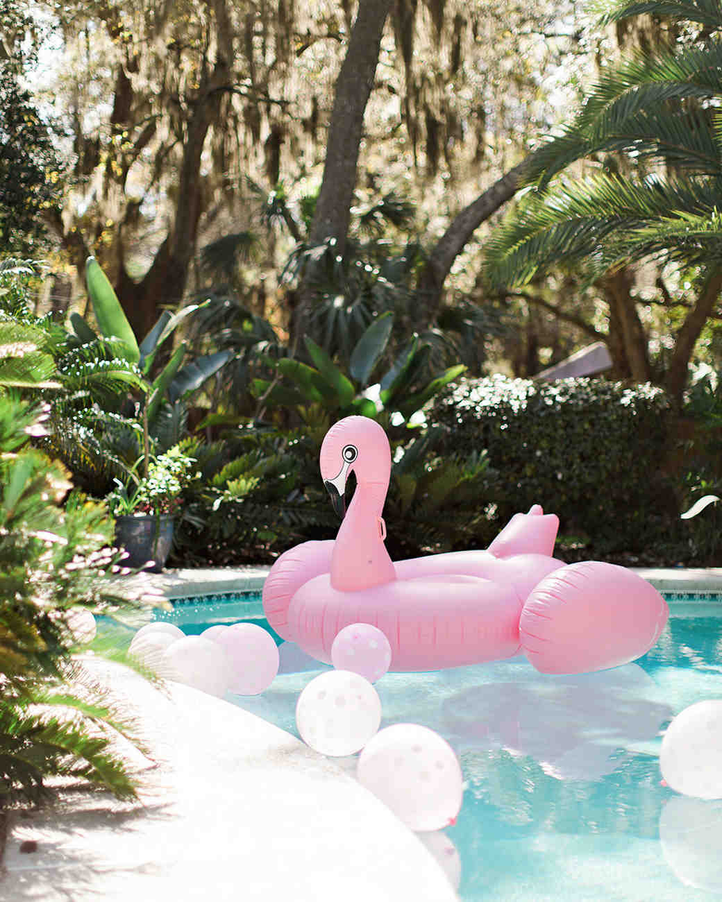 pink bridal shower flamingo pool float