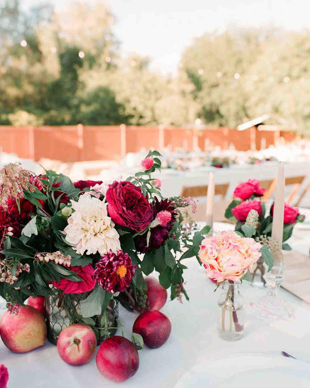 Red Wedding Reception Flowers